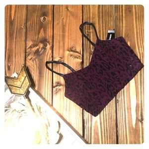 Burgundy/ leather crop top Express ! XS
